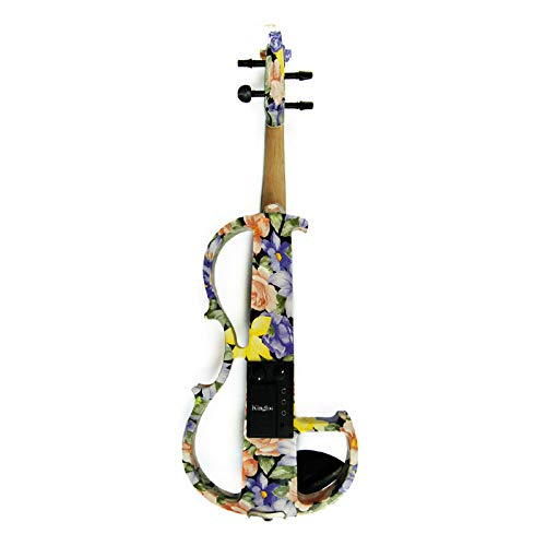 ABMBERTK Elektrische Geige, stumme Geige mit bunten Blumen und bemaltem Massivholz, 4/4 Ebenholzzubehör, Größe 4 4