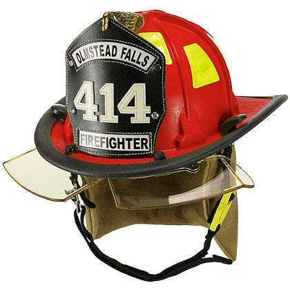 Cairns 880 Chicago Helmet, Red - NFPA Bourkes, Deluxe, Red