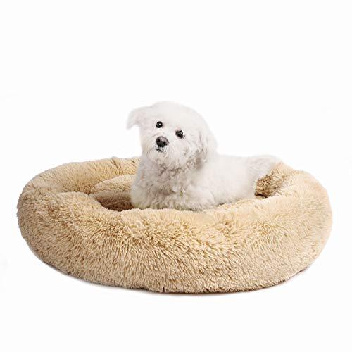 Veehoo Luxuriöses Kunstfell Erwärmen Hundebett, Sanft Tierbett für Klein, Mittelgroße, Grosse Hunde & Katze, Runden Katzenbett Waschbar, M, Aprikose