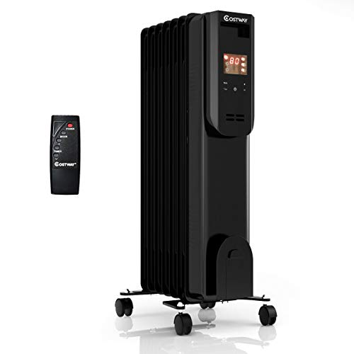 COSTWAY Portable Oil-Filled Heater, 1500W Electric Radiator Heater with 12h Timer, Remote Control, Digital Thermostat, Tip-over& Overheat Protection, Energy-Efficient Space Heater for Bedroom, Office Heater Oil Space