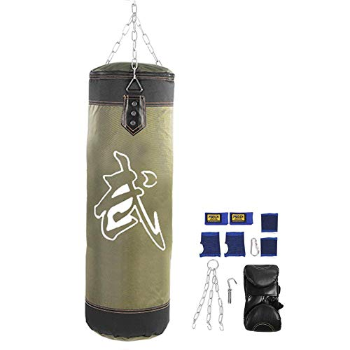 Empty Boxing Punching Bag Heavy Duty MMA Fight Karate Fitness Workout Punch Sand Bag Kicking Bag Training Boxing Hanging Kick Sandbag Kit with Gloves and Chains 0.6m/0.8m/1m/1.2m(Green 60cm)
