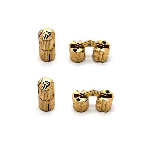 Antrader 12mm Brass Hidden Barrel Hinges Invisible Concealed Hinge for DIY Wooden Door 180 Degree Opening Angle 4Pack