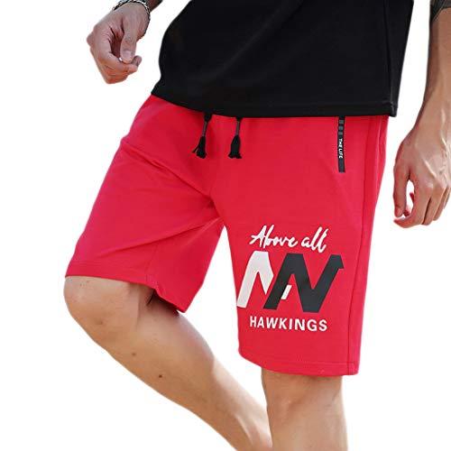 GCX- Shorts Mannen Summer Loose shorts Hippe Shorts Comfort Shorts Geel/Grijs Vrije tijd (Color : Red, Size : XXL)