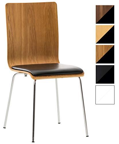 CLP Wartezimmerstuhl Pepe mit Kunstledersitz und stabilem Metallgestell I Konferenzstuhl mit ergonomisch geformter Sitzfläche Eiche/schwarz