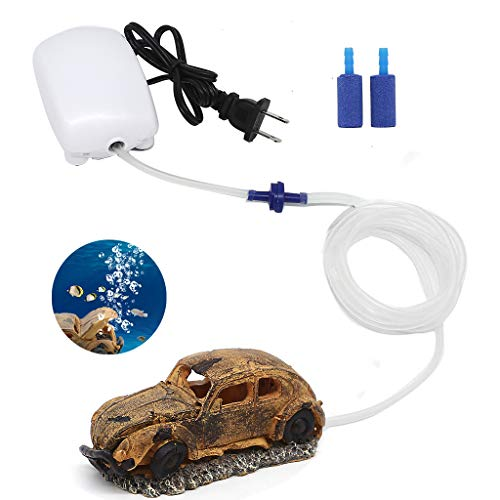 Boxtech Aquarium Air Pump Air Bubble Stone - Fish Tank Oxygen Aerator Pump, Air Bubble Ornament Decorations with Air Tube Valve Stone Accessories