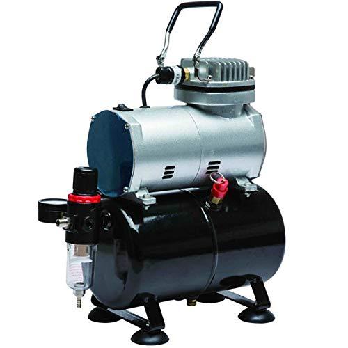 Compresor de aerografia con calderin 3 L. Presion regulable 0-6,5 Bar. Manometro, filtro y valvula de seguridad incluido