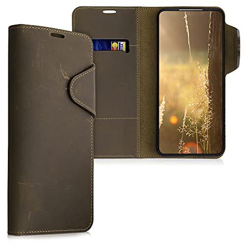 kalibri Wallet Hülle kompatibel mit Samsung Galaxy S21 - Hülle Leder - Handy Cover Handyhülle in Braun