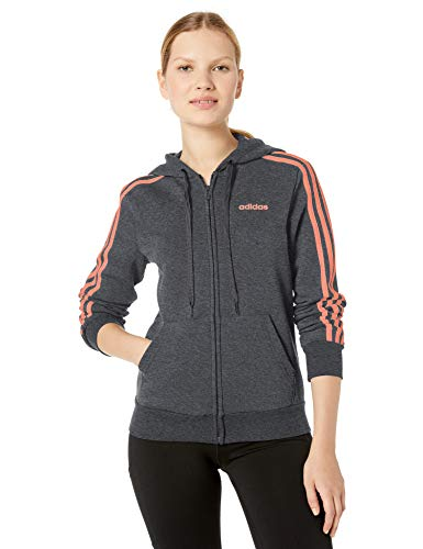 adidas Damen Essentials 3-Streifen Fleece Full Zip Hoodie Sweatshirt, Damen, Reißverschluss, Sweatshirt, Essentials 3-Stripes Fleece Full-Zip Hoodie Sweatshirt, Dunkelgrau/Halbkoralle, X-Small