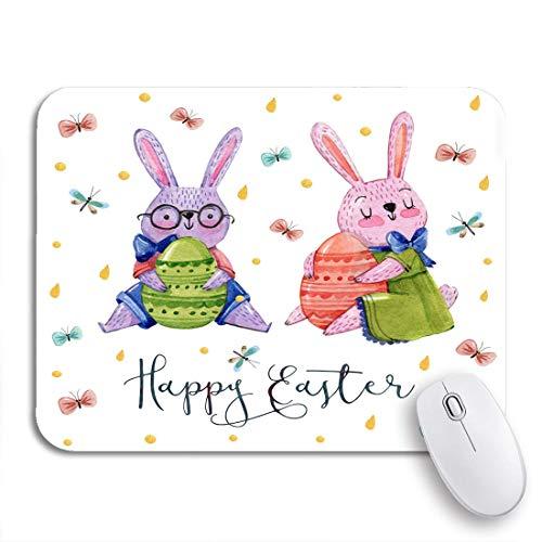 COFEIYISI Tappetino per Mouse,Tenuta dell'acquerello delle Coppie del Ragazzo e della Ragazza dei Conigli di Pasqua,Superficie Liscia in Gomma Antiscivolo Mouse Pad