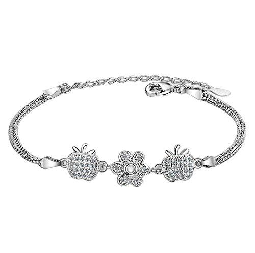 Hosaire Bracelet Femmes Nouveauté Style Fleurs de pommiers Argent Bracelet Chaîne Bijoux Poignet Décoration Cadeau Anniversaire Noel Saint-Valentin (Type-5)