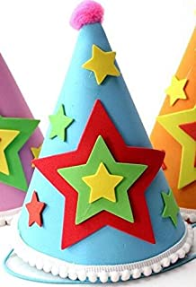 Perfect Party Decoration Holiday Accessories Applique Birthday Cap Children's Birthday Decoration Cute Five Point Stars Pattern Cap_Blue