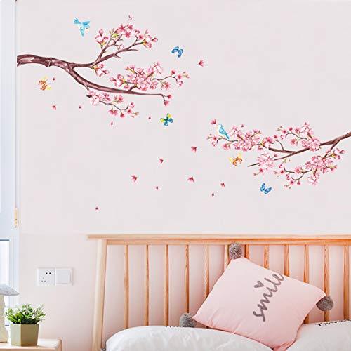decalmile Wandtattoo Kirschblüte Ast Wandsticker Blumen Wandaufkleber Schlafzimmer Wohnzimmer Sofa Hintergrund Wanddeko