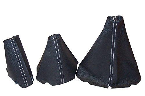 Für Land Rover Discovery Series 1(1995–1998) oder Serie 2(1999–2004) Set von 3Gamaschen Custom Made Stiefel Schwarz Echtes italienisches Leder mit weißen Nähten