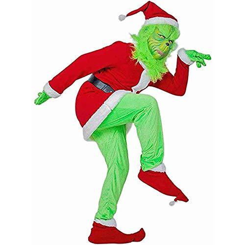 Royoo Green Christmas Green Santa Grinch Weihnachtsmann Kostüm Für Männer, Cosplay Kostüm Set Mit Weihnachtsmütze, Hosenmantel, Handschuhe