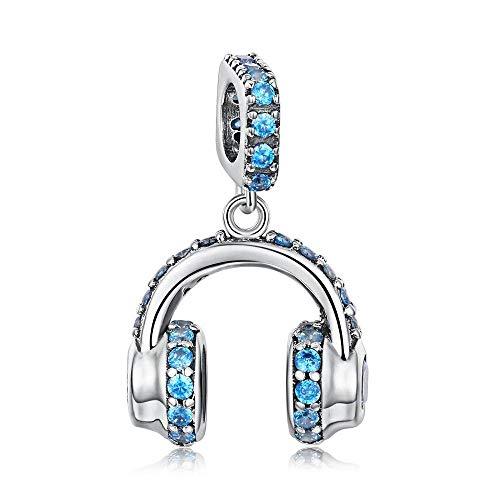 925 zilveren hangers voor dames, mode romantisch kettingloos schattig blauw zirkoon koptelefoon vorm charme hanger voor dames sieraden accessoire verjaardag cadeau partij accessoires