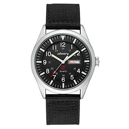 Infantry Mens Analog Military Watches for Men Waterproof Tactical Wrist Watch Casual 24 Hour Outdoor Work Wristwatch Black Nylon Strap Date Day