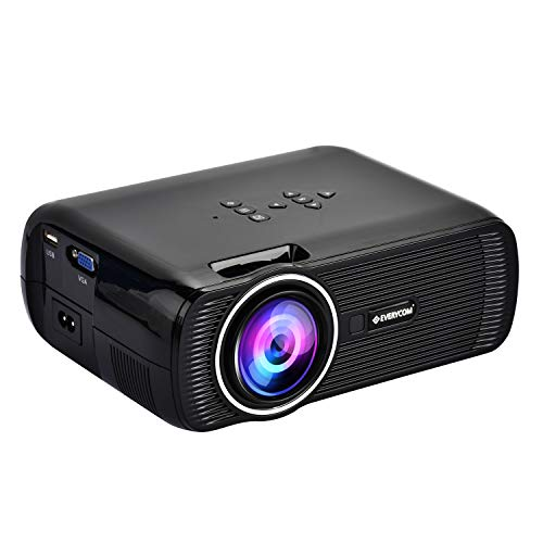 Everycom X7 (1080p Support) LED Projector 1800 Lumen | Large 120-inch Display Projection with HDMI + VGA + Aux + USB Connectivity - (Black)