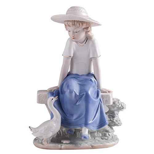 ZSQZJJ Home Figurine Statue Decor Ornament,Modern Swan Girly Ceramic Character Sculpture Painted Portrait Statue Handmade Figurine