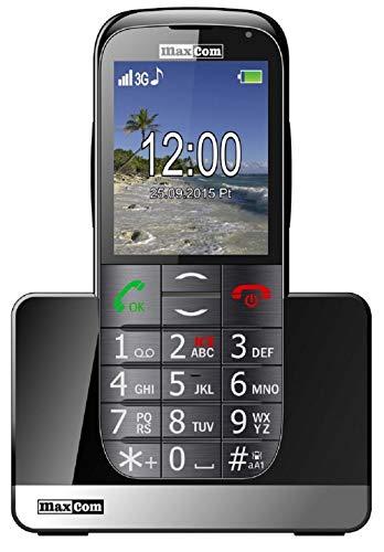 MaxCom Mobiltelefon Seniorenhandy mit Notruf-Knopf Ladestation Bluetooth 2, Zoll Display 2MP Kamera FM Radio und Taschenlampe Schwarz mm721 3G