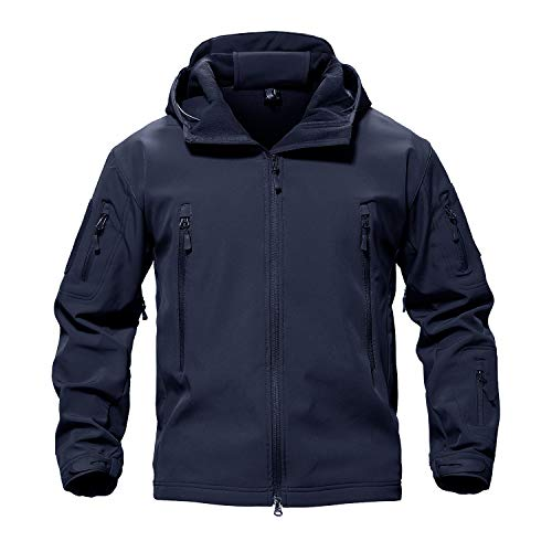 TACVASEN Men's Special Ops Military Tactical Soft Shell Jacket Coat Navy,US M