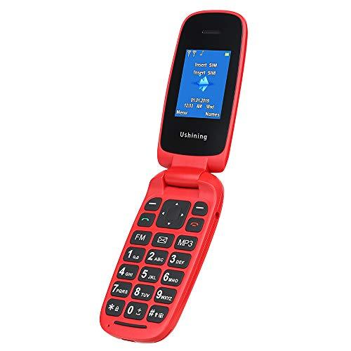 Ushining Teléfono Móvil Libre, Teléfono Móvil para Personas Mayores Teclas Grandes con Tapa Pantalla de 1,8 Pulgadas (Dual SIM, Cámara, Bluetooth, Reproductor MP3) - Rojo
