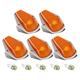 5pcs Top Clearance Cab Marker Roof Running Light Amber Cover Lens 15442 + 5050 T10 194 LED Bulbs Replacement...