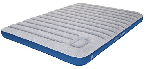 High Peak Unisex Cross Beam Double extra long Luftbett, mit integrierte Fußpumpe und Anti-Rutsch Funktion, atmungsaktiv, robust, Oberseite weich, für Indoor und Outdoor, hellgrau/blau, XXL