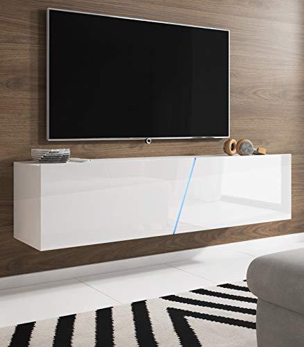 Space TV-Unterteil hängend oder stehend Lowboard inkl. RGB Beleuchtung 160 x 35 cm Hochglanz weiß/weiß Dekor