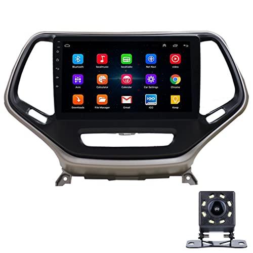 LWYJ Radio De Coche, Pantalla Táctil Radios HD De 10.1 Pulgadas, Android 10 para Jeep Cherokee, Reproductor Multimedia Auto Radio Navegación Estéreo, WiFi, con Camara Trasera,1+16G