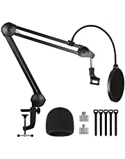 """InnoGear Microphone Arm Stand, Heavy Duty Suspension Mic Boom Scissor with Mic Clip, Pop Filter, Windscreen, 5/8"""" to 3/8"""", 5/8"""" to 1/4"""" Adapter, Cable Ties for Blue Yeti Nano Snowball Other Mics"""