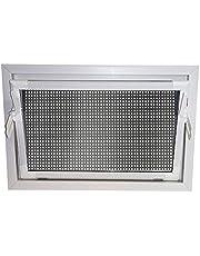ACO 90x60cm nevenraam israam + beschermingsrooster kantelraam venster wit