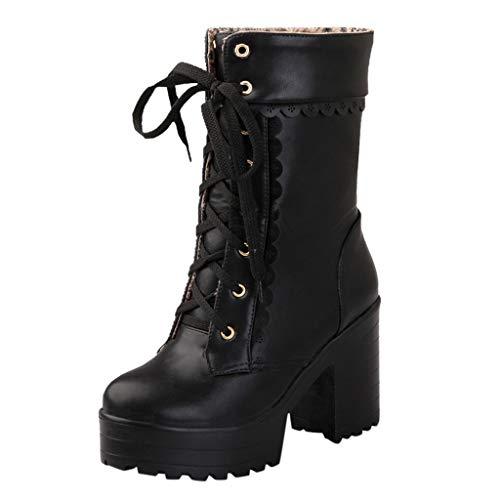 Watopi Damen Krawatte Schuhe High Heel Schuhe Stiefeletten Schnürstiefeletten Sweet Lady Platform...