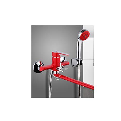 Cabezal De Ducha 1 Unidades Superficie De Cuerpo De Latón Montado En La Pared 35Cm Tubo De Salida Rojo Baño Ducha Grifo Pintura En Aerosol Baño Grifo