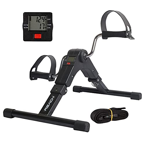 Reach Digital Pedal Exercise Machine Mini Fitness Cycle with Fixing Strap, Adjustable Resistance and LCD Display - Fits Under Desk...