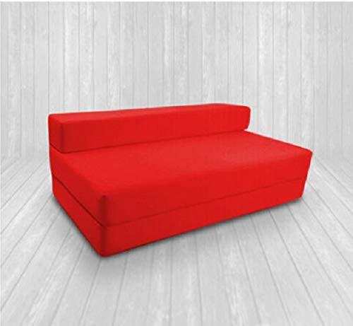 SAPPHIRE Sofá Cama de Matrimonio 100% algodón Z Cama Doble Plegable para Invitados futón sofá Cama de Espuma Suave, cómodo con una Funda extraíble con Cremallera, 9 Colores, Rojo, Doublé