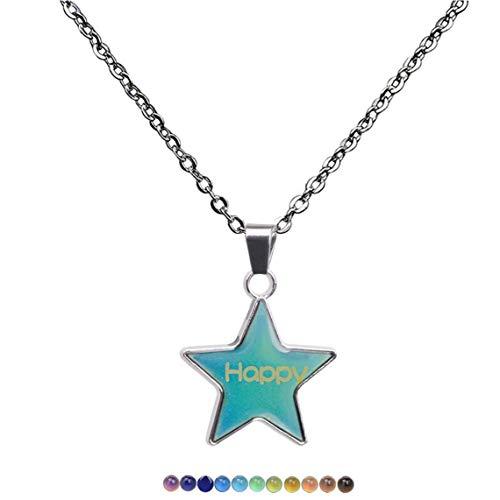 Bongles Colgante De Regalo Magic Star Mood Cambio del Color De Los Collares De La Joyería De Acero Inoxidable para Niñas