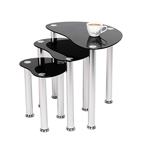 MissZZ Clear Glass Nest Tables Set of 3 for Living Room Rectangular Coffee Sofa Side End Table Nesting of 3 Transparent Tabletop Chrome Leg Small Table Bedroom (Clear)