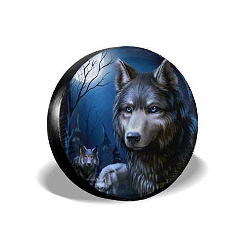 Belleeer Cubierta DE LA Rueda, Tire Cover Moon Wolf Potable Polyester Universal Spare Wheel Tire Cover Wheel Covers for Trailer RV SUV Truck Camper Travel Trailer Accessories(14,15,16,17 Inch)