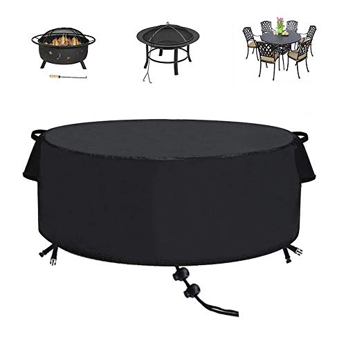 TheElves Fire Pit Cover Round 60 x 23 inch, Waterproof Windproof Anti-UV Heavy Duty Patio Firepit Bowl Cover for Outdoor Furniture