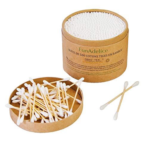 Coton Tige Biodégradable Bambou | x 500 | Cotons-Tiges Bois Bio Ecologique | Cure Oreilles Bambou Bâtonnets Coton Nettoyage Oreilles Biologique | Oriculi Zero Dechet Durable Compostable Polyvalent