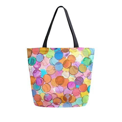 JinDoDo - Bolsa de lona de colores con bolas de cristal reutilizables para mujer, para ir de compras, viajes, playa, escuela