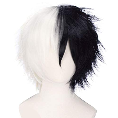 JoneTing Black and White Cosplay Costume Synthetic Short Natural Wavy Wigs Hair for Men