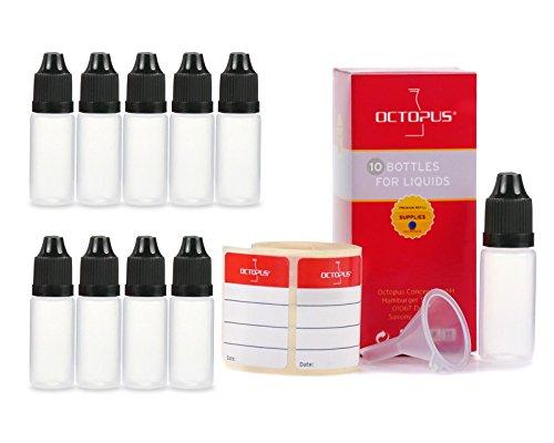 10 flaconi liquidi da 10 ml con imbuti + etichette, ad es. per e-liquidi + e-sigarette, bottiglie di plastica in PE LDPE, flaconi di dosaggio liquidi, bottiglie in calo o bottiglie per spremere + coperchi neri