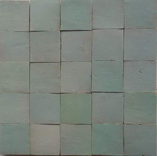 20Stk. Zellige grünweiß Wandfliesen Mosaikfliesen