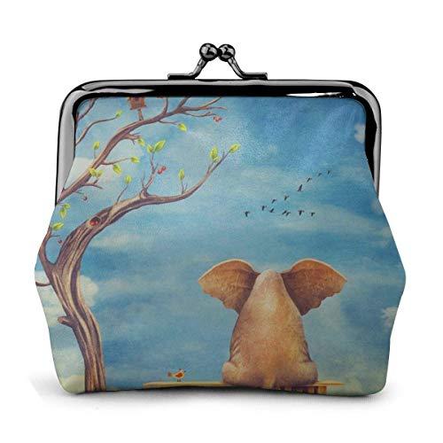 Triste elefante seduto su una panchina in pelle pu squisita fibbia portamonete borsa vintage portafoglio classico portamonete con serratura