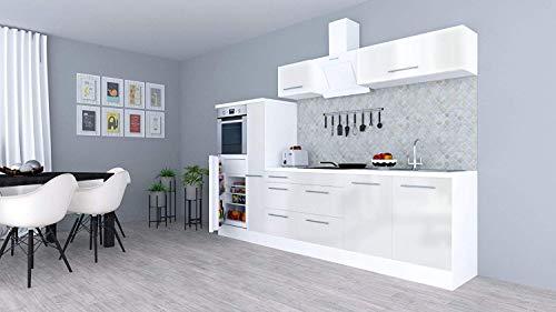 respekta Küchenzeile Küche Küchenblock Einbauküche Hochglanz 300 cm Weiß (Weiß)