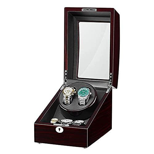 LLSS Caja de Enrollado de Reloj 2 + 3 Adaptador de enrollador de Reloj automático y batería con Acabado de Piano de Madera Motor silencioso Durable/D