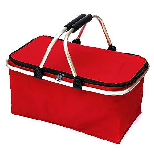 DaMohony - Cesta de camping plegable con aislamiento térmico para la compra, cesta de almacenamiento para el hogar, a prueba de fugas, portátil de 30 l para viajes y compras, rosso