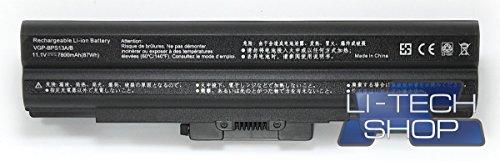 LI-TECH Batteria Compatibile 9 Celle 7800mAh Nero per CODICE Sony VGP-BPS13S 10.8V 11.1V