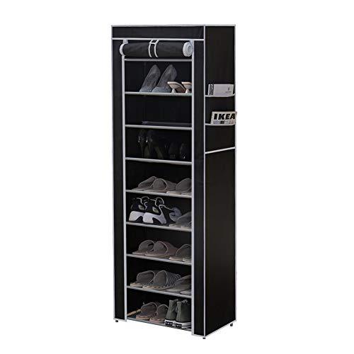 CLIPOP - Zapatero de 10 niveles, organizador de almacenamiento para zapatos, torre de zapatos con capacidad para 27 pares de zapatos con cubierta de tela Oxford a prueba de polvo, negro
